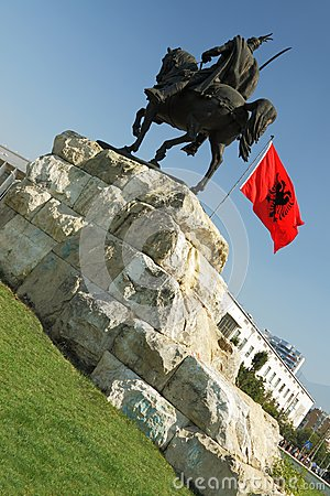 Tirana, Albania, Skanderbeg Monument and National Flag