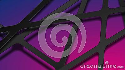 Tiras pretas abstratas de recorte de papel na animação de vídeo de fundo azul roxo video estoque