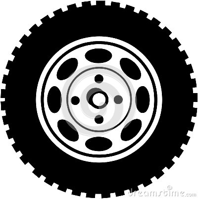 Tire For Car Or Truck Cartoon Vector Clipart Stock Vector