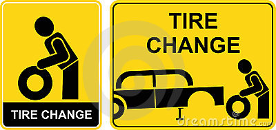 Tire change sign