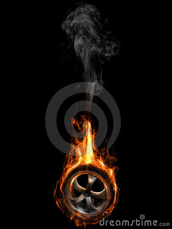 Tire on fire