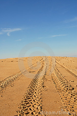 Tire traces in a dune