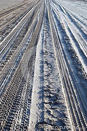 Tire tracks on sand