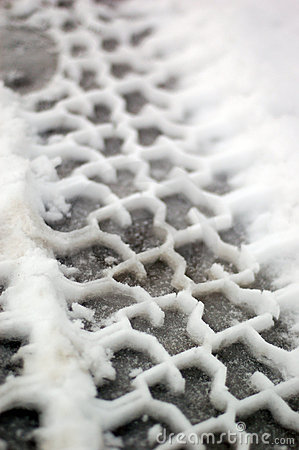 Tire tracks in snow full