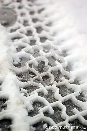 Tire tracks in snow full