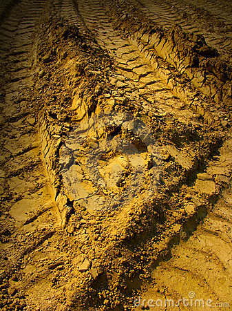 Tire tread marks