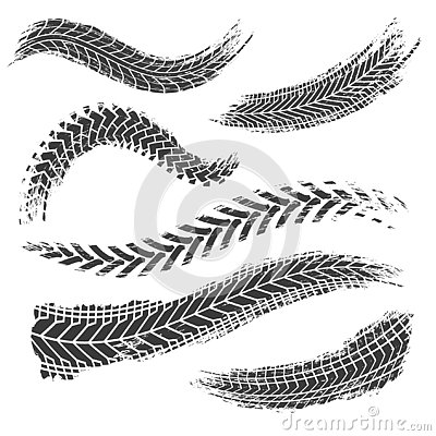 Tire tread tracks. Car, motorcycle and bicycle mark prints. Rally bike wheel dirty traces. Motocross vector collection Vector Illustration