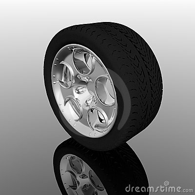 Tire wheel on a grey background