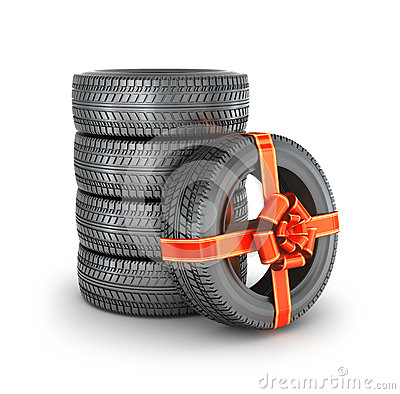 Free Tire With Ribbon. Royalty Free Stock Photography - 64609857