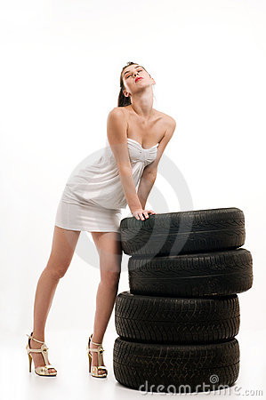 Tire and woman