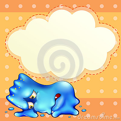 A tired blue monster below the empty cloud template
