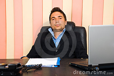 Tired business man in office