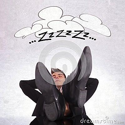 Tired business man sleeping