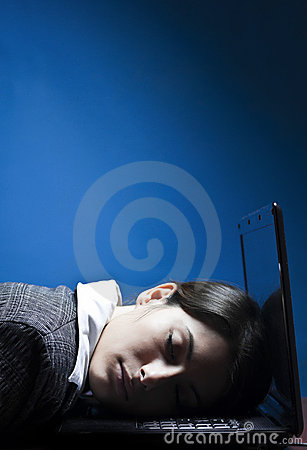 Tired business woman sleeping