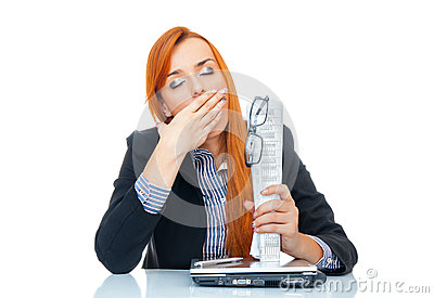 Tired business woman yawn