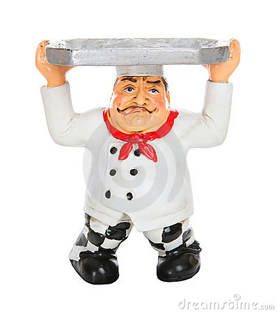 Tired Chef with Serving Tray