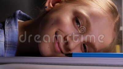 Tired child at Study, Bored Kid Study for School, Girl Doing Homework, Night stock video