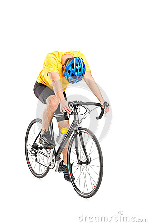 Tired cyclist on a bicycle