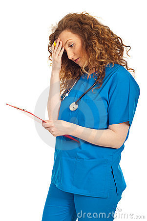Free Tired Doctor Woman With Clipboard Stock Photos - 19477723