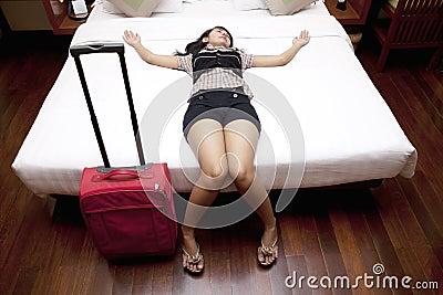 Tired female traveler