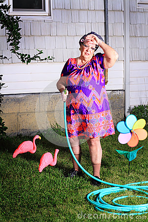 Free Tired Granny Doing Yard Work Royalty Free Stock Image - 33956656