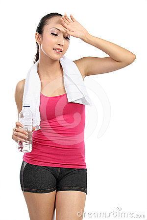 Tired healthy woman