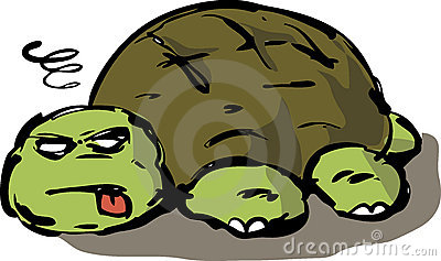 Tired lazy turtle illustration