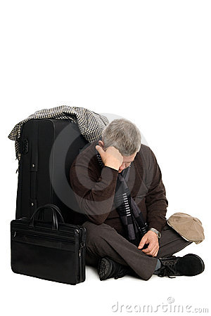 Tired man in anticipation of landing on aircraft