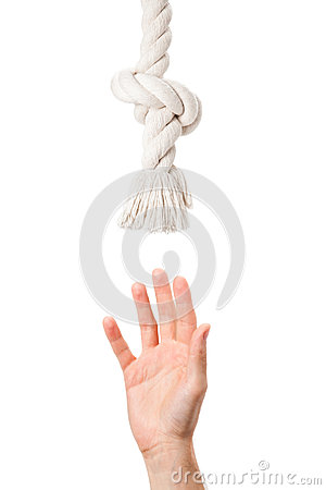 Free Tired Man Hand Pulling To Helping Rope Royalty Free Stock Images - 24973539