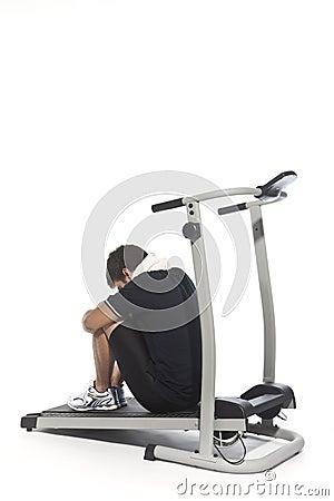 Tired man on Treadmills