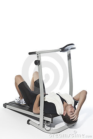 Tired man on Treadmills