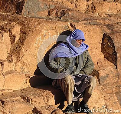 Tired pilgrim, Mount Sinai Editorial Image
