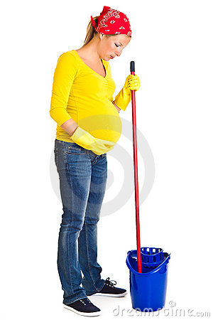 Free Tired Pregnant Woman Cleaning Royalty Free Stock Images - 20254509