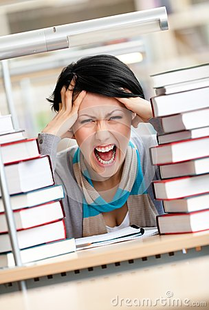 Free Tired Pretty Woman Surrounded With Books Royalty Free Stock Photo - 27110315
