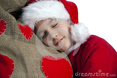 Tired santa boy