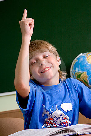 Free Tired Schoolboy With His Hand Up Royalty Free Stock Image - 5462626