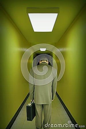 Tired Stressed Business Man Walking Hallway