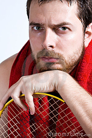 Tired tennis player with sweat over face