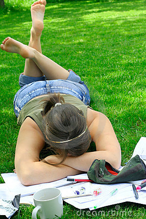 Free Tired With Homework Royalty Free Stock Photo - 924925