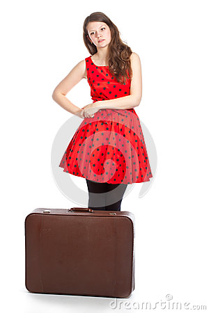Tired woman with luggage