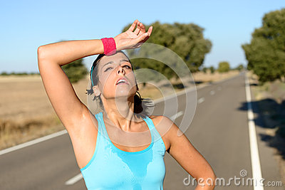Tired Woman Sweating After Running Royalty Free Stock ...