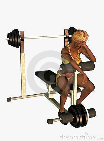 Tired woman on weight bench