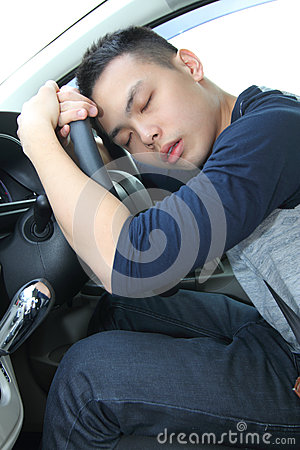Free Tired Young Man Asleep At The Wheel Stock Photography - 38851282