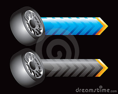 Tires on blue and black arrows