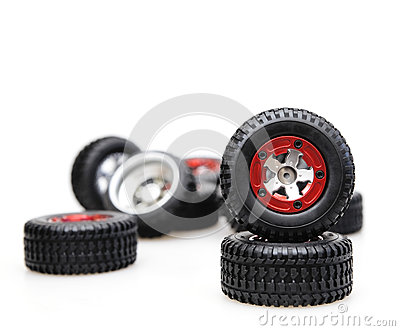 Tires on red rims