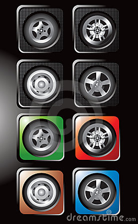 Tires and various rims in square web buttons