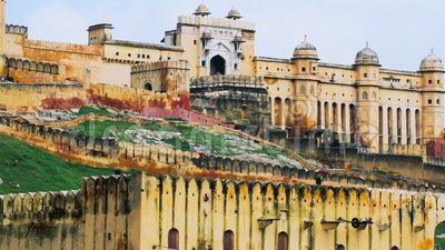 Tiro ascendente cercano de Jaipur Amber Fort almacen de metraje de vídeo