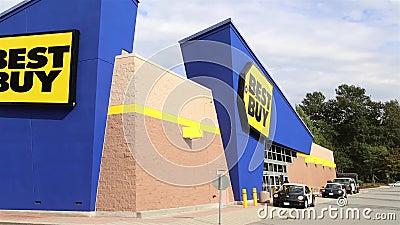Tiro exterior de la tienda de Best Buy almacen de metraje de vídeo