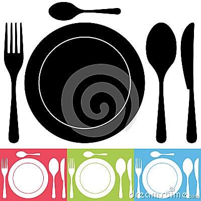 Tischbesteck-und Platten-Ikonen