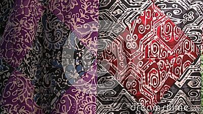 Tissu Batik de cire multimotif, KL, Malaisie banque de vidéos